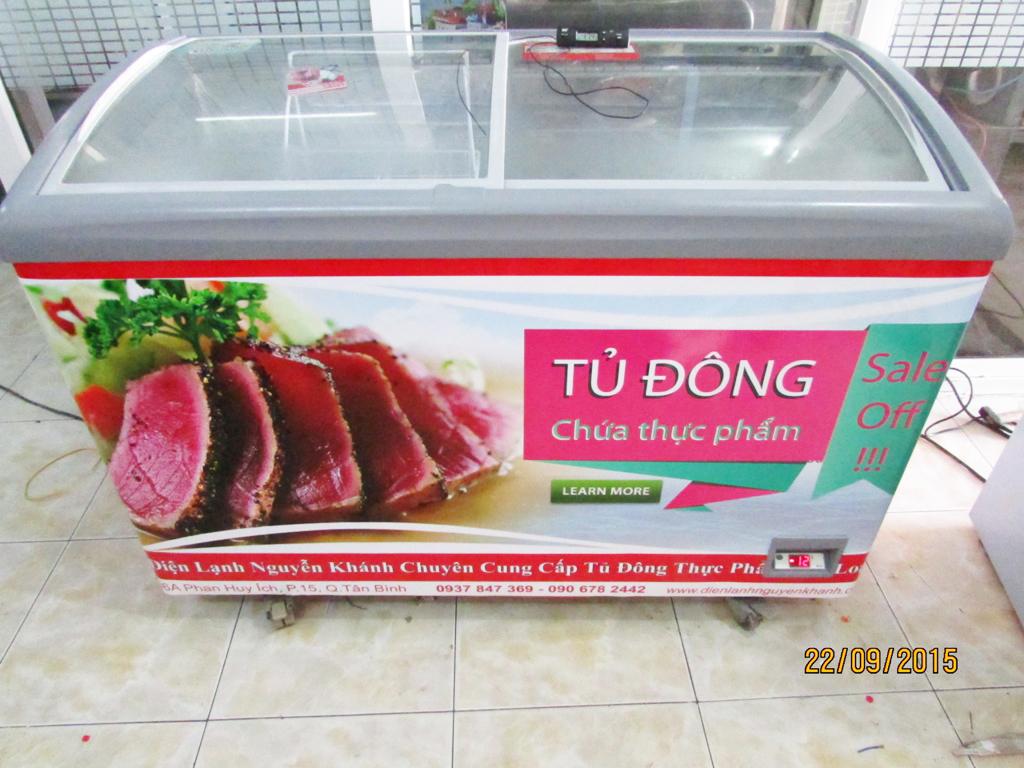 Tủ đông thực phẩm Thái Lan 350 lít (Kính cong)
