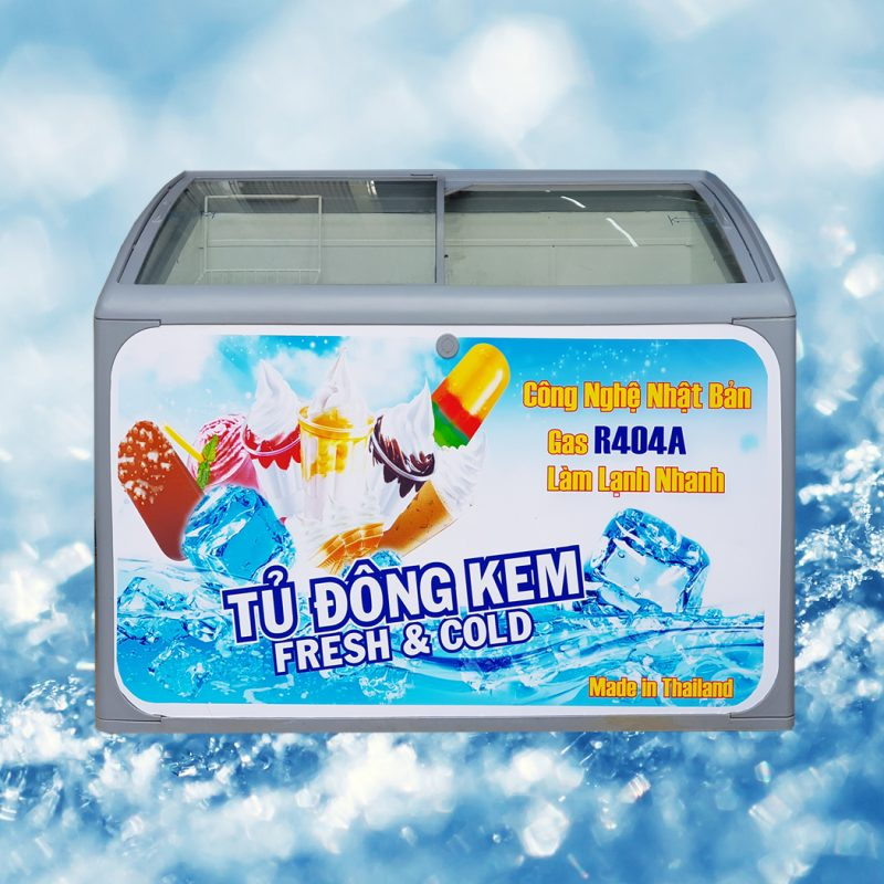 Tủ đông kem Thái Lan 300 lít (Kính cong)