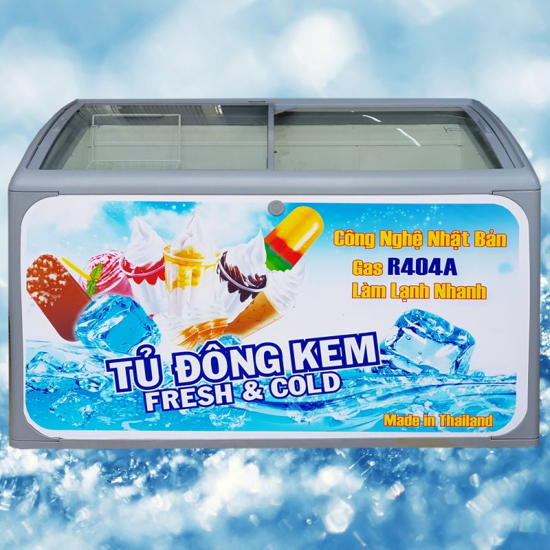 Tủ đông kem Thái Lan 400 lít (Kính cong)