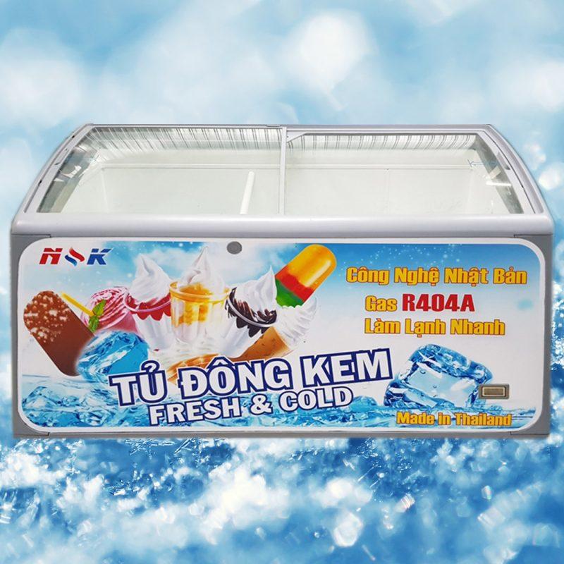 Tủ đông kem Thái Lan 500 lít (Kính cong)