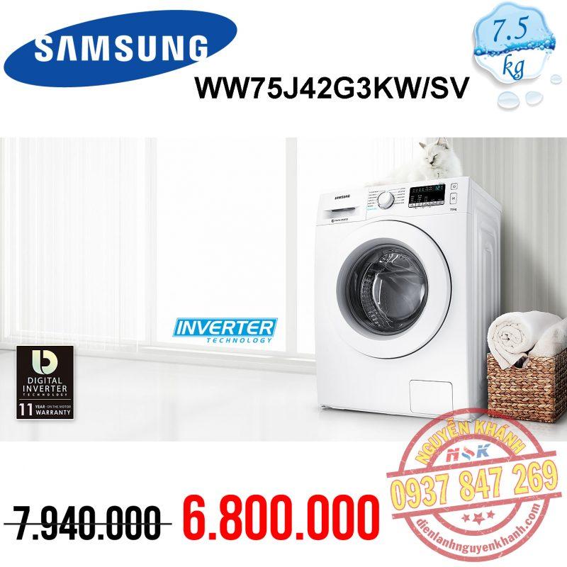 Máy giặt Samsung Inverter WW75J42G3KW/SV 7.5kg