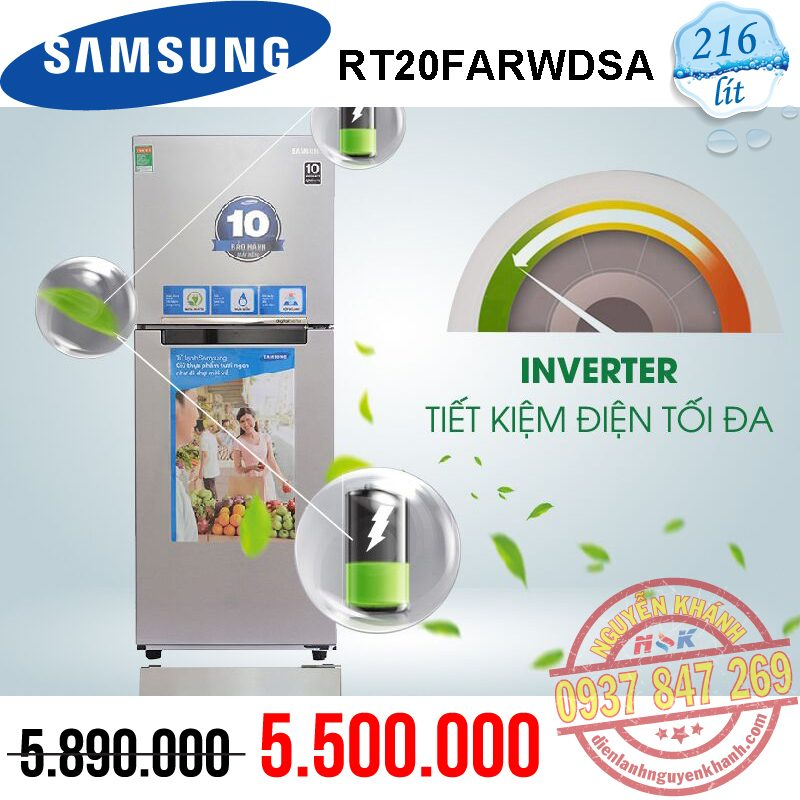 Tủ lạnh Samsung Inverter RT20FARWDSA 203 lít