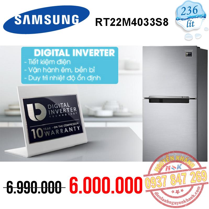 Tủ lạnh Samsung Inverter RT22M4033S8/SV 236 lít