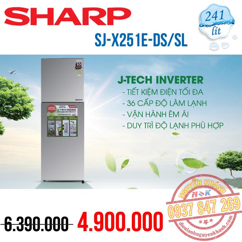 Tủ lạnh Sharp Inverter SJ-X251E-SL 241 lít