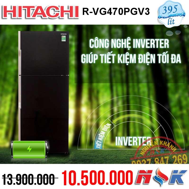 Tủ lạnh Hitachi Inverter R-VG470PGV3 395 lít