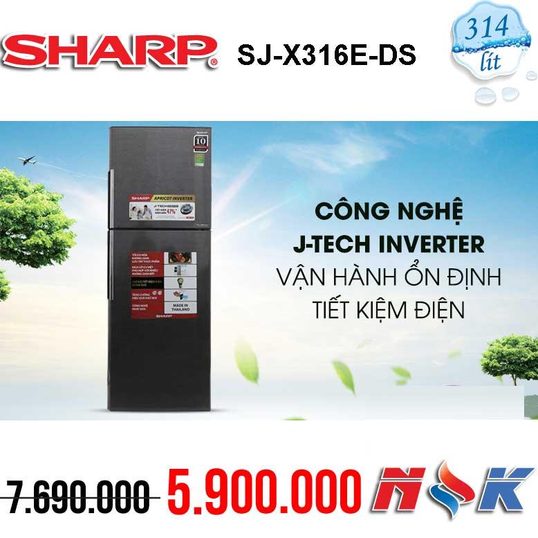 Tủ lạnh Sharp Inverter SJ-X316E-DS 314 lít