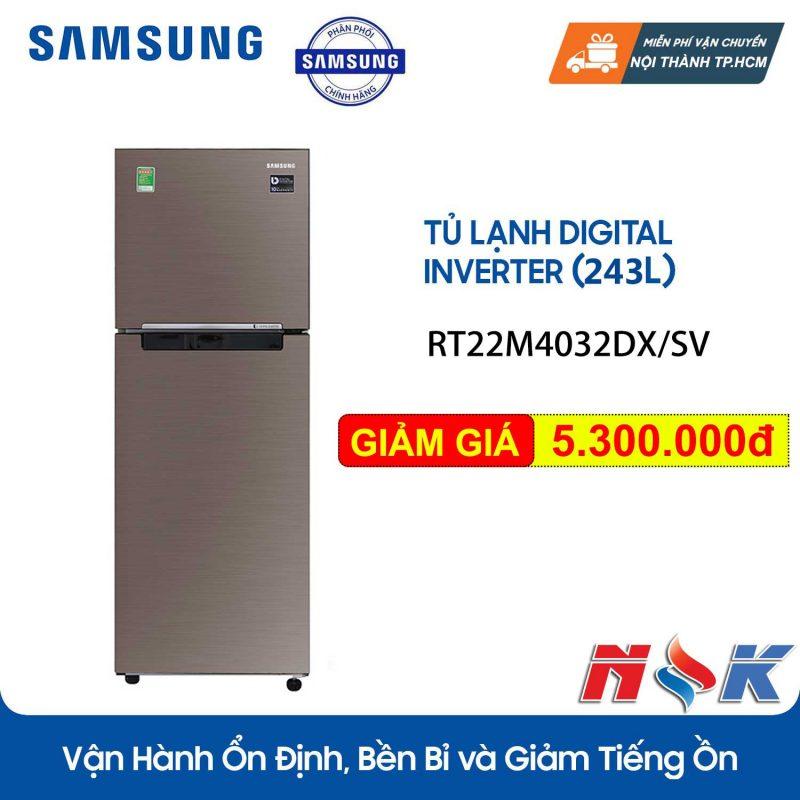 Tủ lạnh Samsung Inverter RT22M4032DX 236 lít
