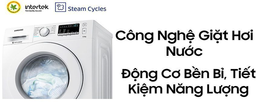 Công nghệ giặt hơi nước của máy giặt cửa trước Samsung WW75J42G3KW/SV