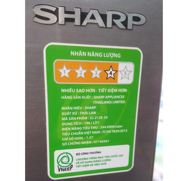 Tủ lạnh Sharp SJ-212E-SS 196 lít