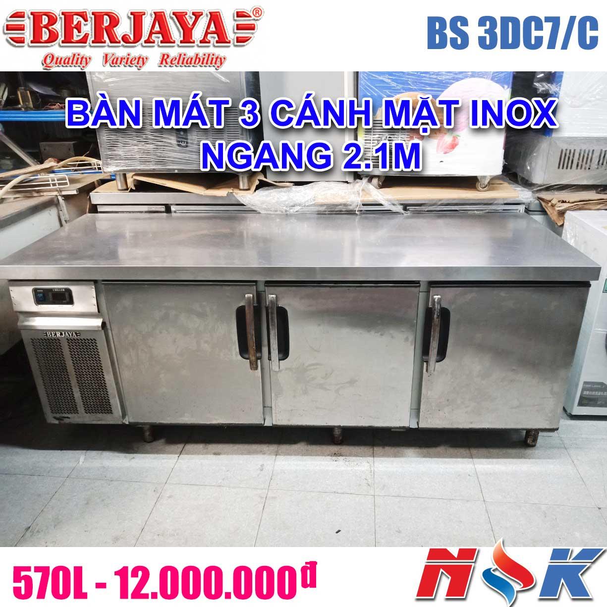 Bàn mát 3 cánh inox Berjaya 2m1 BS 3DC7/C