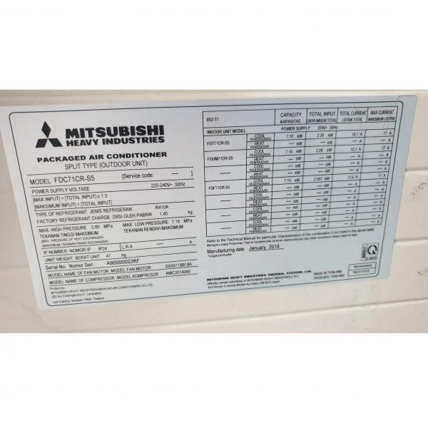 Máy lạnh âm trần Mitsubishi Heavy FDT71CR-S5 3HP