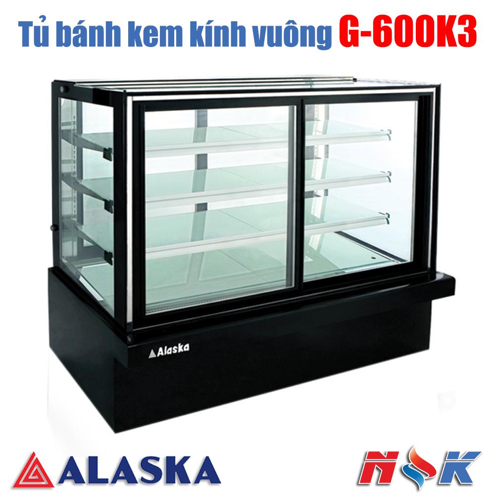 Tủ bánh kem kính vuông Alaska G-600K3