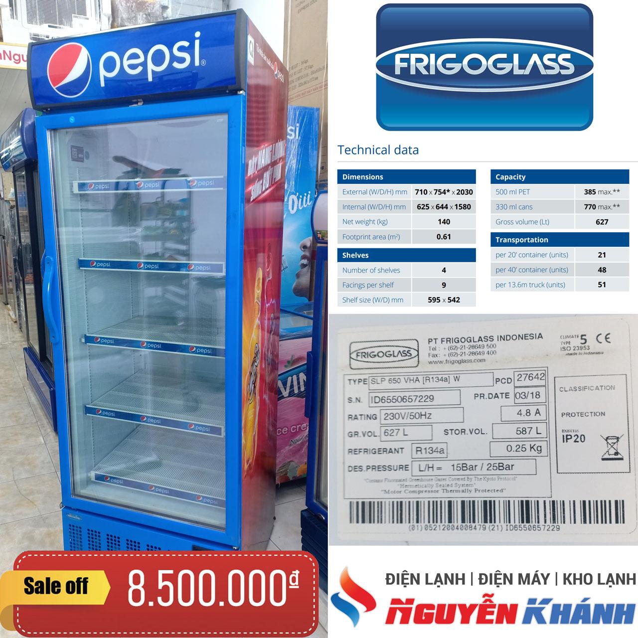 Tủ mát Pepsi Frigoglass SLP-650-VHA 650 lít